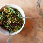 Kale Salad with Sweet Potatoes and Candied Walnuts