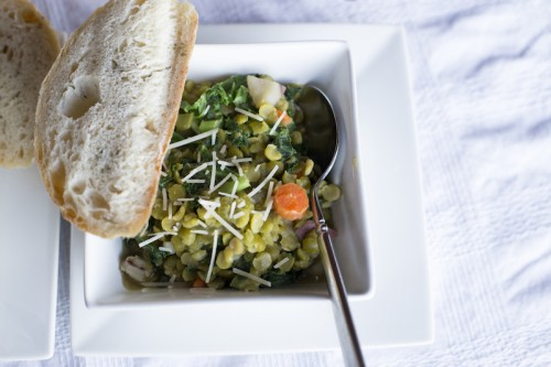 Vegetarian Split Pea Soup with Kale