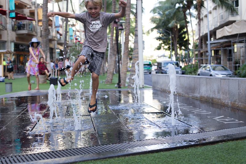 Levi fountain play at Waikiki Beach walk