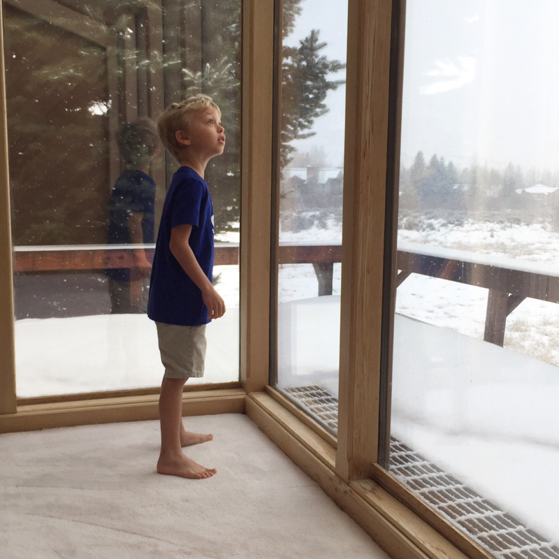 Levi seeing snow for first time