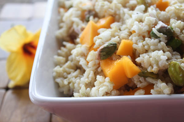 Coconut rice from hawaii, w/ papaya and pistachios.  at thegrommom.com