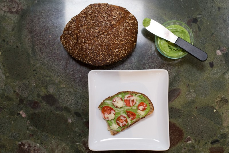 almond basil pesto toast