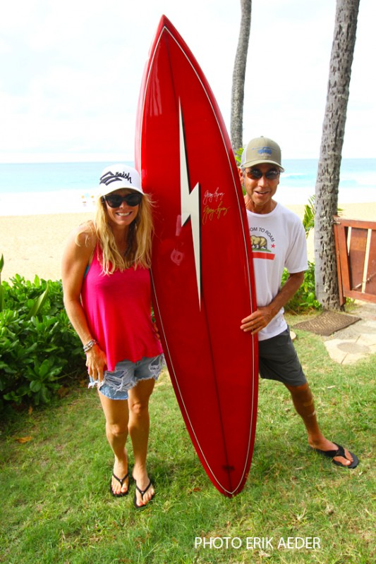 Gerry Lopez and Monica at Pipeline house (Jamie O'Brien's board)